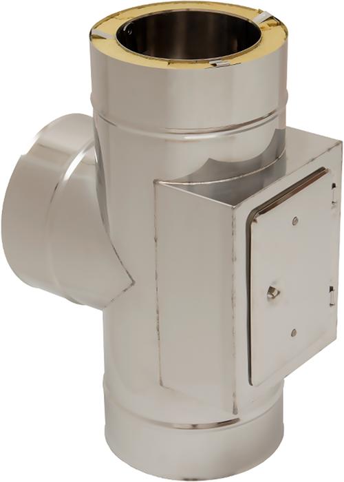T-Stück 90° mit Prüföffnung gegenüberliegend | Edelstahlkamin DW Standard / Premium