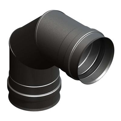 Bogen 90° mit Doppelmuffe schwarz | EW Pellets