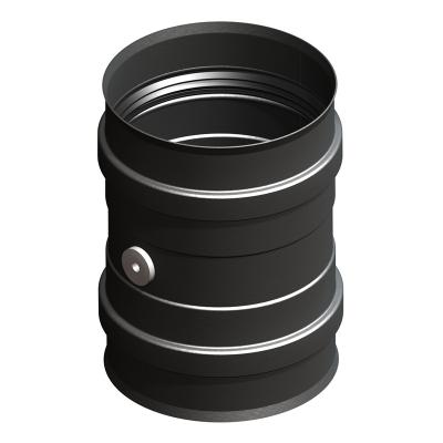 Ofenanschluss mit Doppelmuffe und Messstutzen schwarz | EW Pellets
