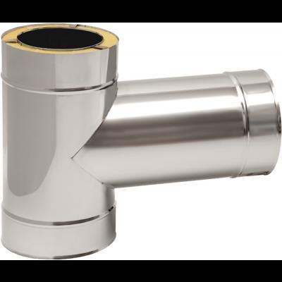 T-Stück 90° mit Abgang 300 mm | Edelstahlkamin DW Standard / Premium